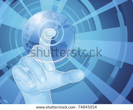 Users hand selecting concept background with world globe - stock vector