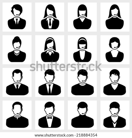 Users icon vector black on white background - stock vector