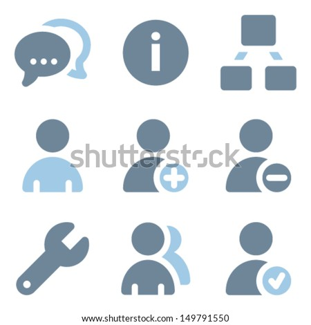 Users icons, blue solid series - stock vector