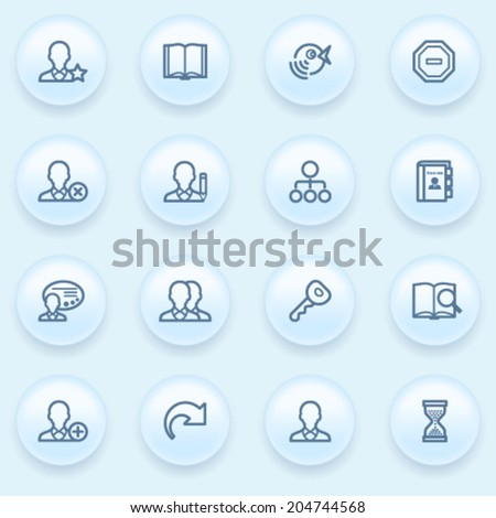 Users icons on blue buttons. - stock vector