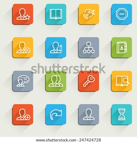 Users icons with color buttons. - stock vector