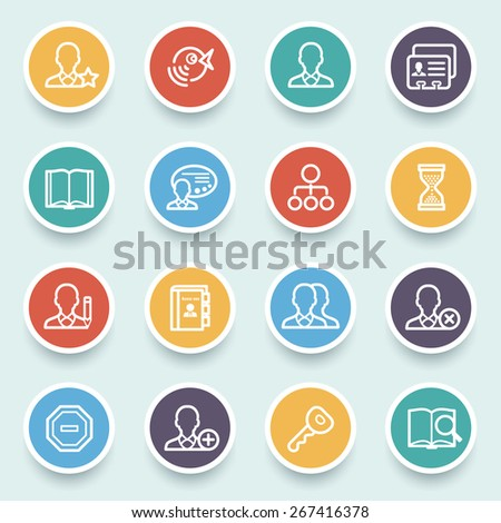 Users icons with color buttons on blue background. - stock vector