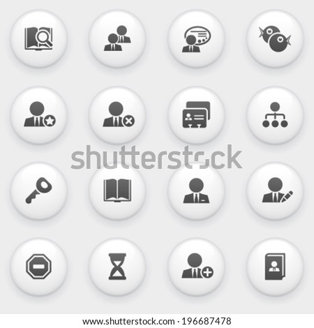 Users icons with white buttons on gray background. - stock vector