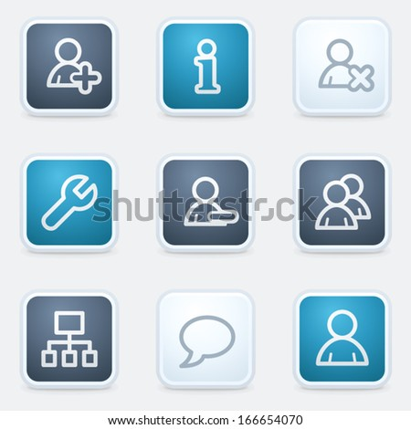 Users web icon set, square buttons - stock vector