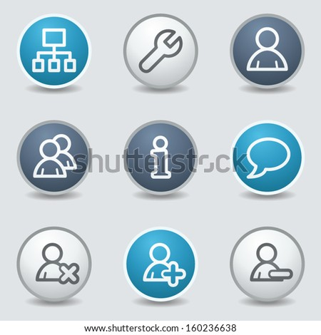 Users web icons, circle blue buttons - stock vector
