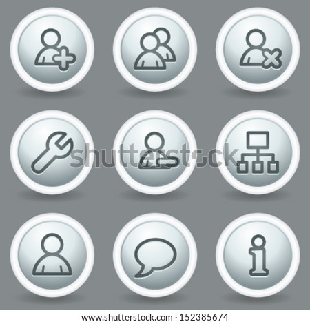 Users web icons, circle grey matt buttons - stock vector