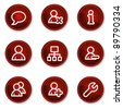 Users web icons, dark red circle buttons - stock vector
