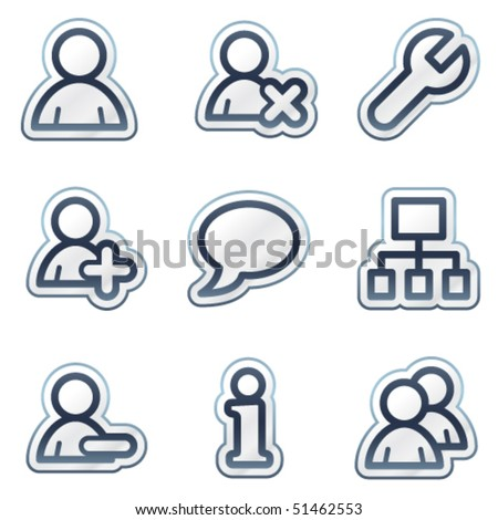 Users web icons, deep blue contour sticker series - stock vector