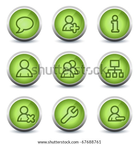 Users web icons, green glossy set - stock vector
