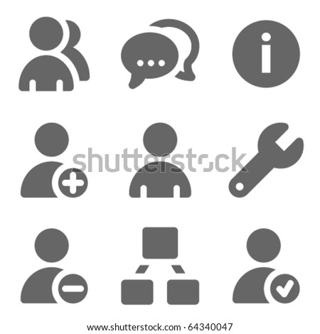 Users web icons, grey solid series - stock vector