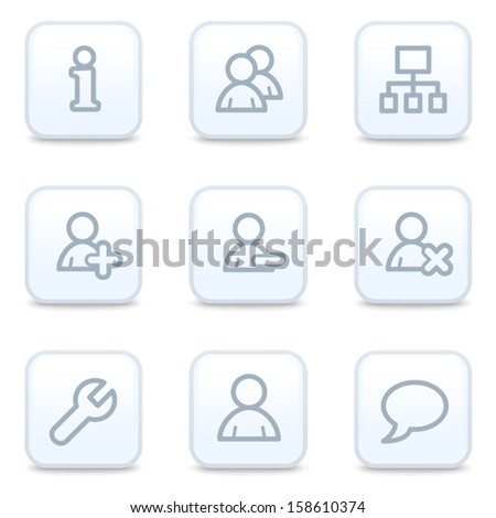 Users web icons, square buttons - stock vector