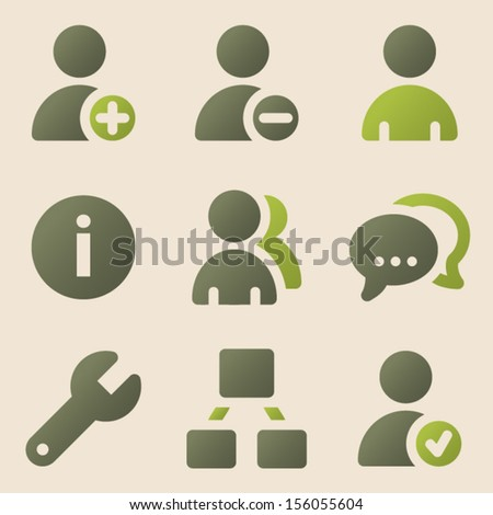 Users web icons vintage color series - stock vector