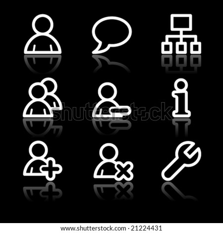 Users white contour web icons - stock vector