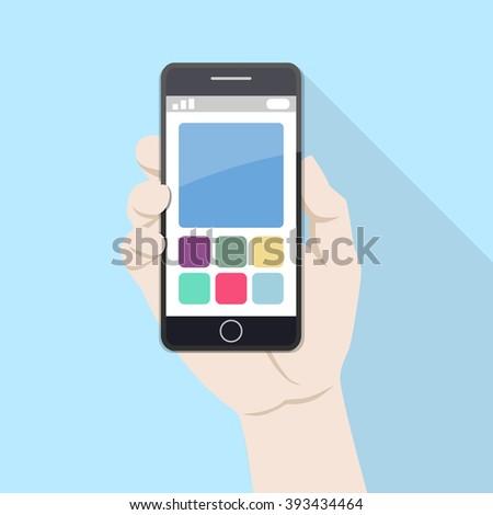 Using mobile smart phone, flat design concept. - stock vector