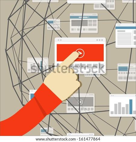 Using modern digital media environment - stock vector