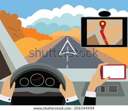Using navigator with modern maps and applications in the car. Modern vector illustration, flat-concept - stock vector