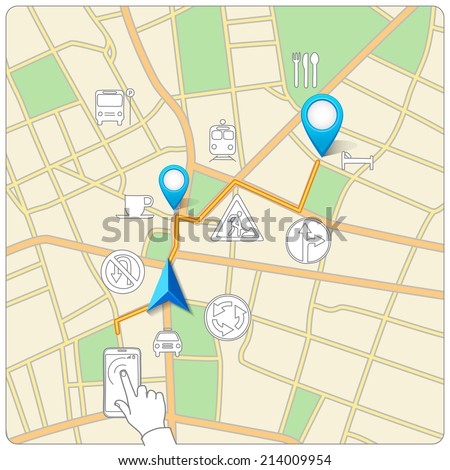 Using phone for street map navigation vector - stock vector