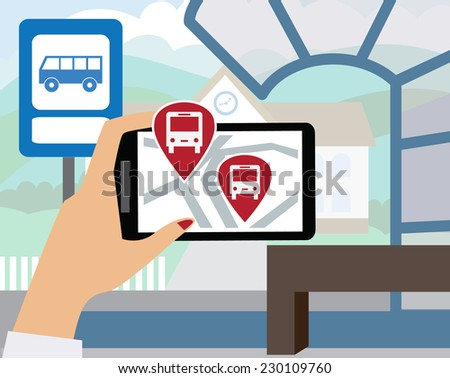 Using your smartphone, with modern maps and applications are where now rides the bus. Modern vector illustration, flat-concept - stock vector