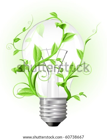 Usual light bulb twisted with green plant