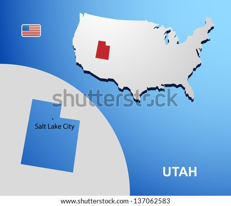 Utah on USA map with map of the state