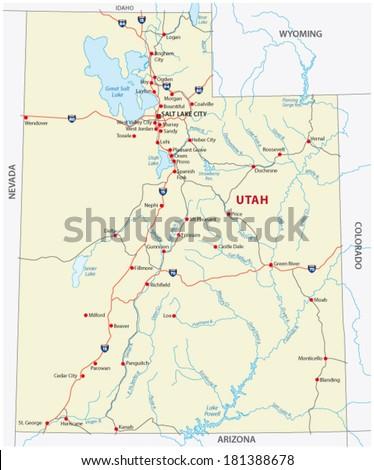 Utah Map Stock Images RoyaltyFree Images Vectors Shutterstock - Utah road map