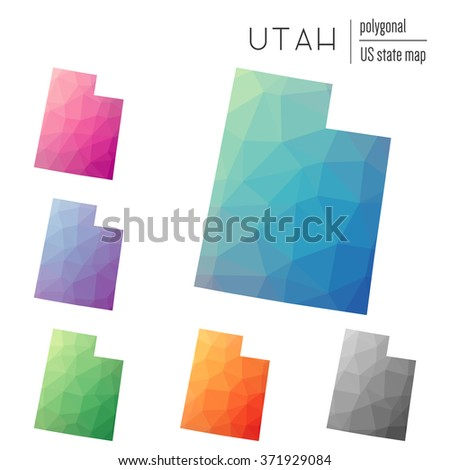 Utah state map in geometric polygonal style. Set of Utah state maps filled with abstract mosaic, modern design background. Multicolored state map in low poly style - stock vector