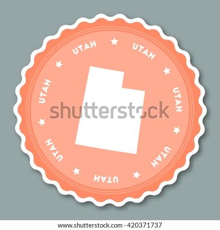 Utah Sticker Flat Design Round Flat Style Badges Of Trendy Colors With The State Map