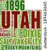 Utah USA state map vector tag cloud illustration - stock photo