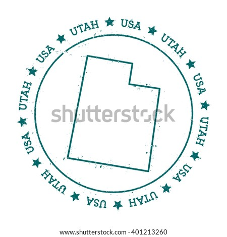Utah Vector Map Retro Vintage Insignia With Us State Map Distressed Visa Stamp With