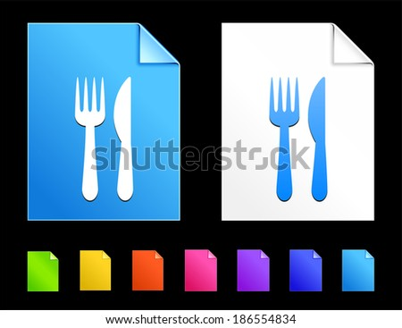 Utensil Icons on Colorful Paper Document Collection - stock vector
