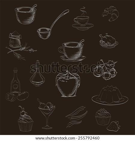 Utensils and food on dark background vector - stock vector