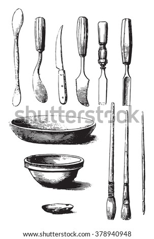 Utensils and tools for molding, vintage engraved illustration. Magasin Pittoresque 1873. - stock vector