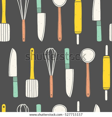 Utensils seamless pattern. Colorful cooking vector background