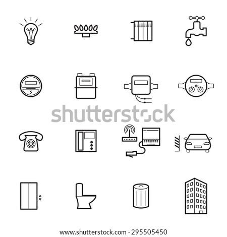 Utilities icons. Vector illustration - stock vector