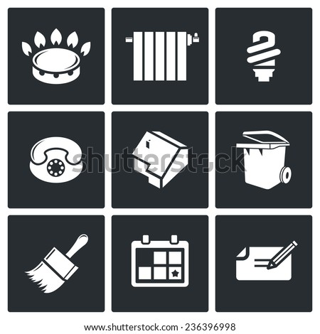 Utilities Vector Icons Set - stock vector