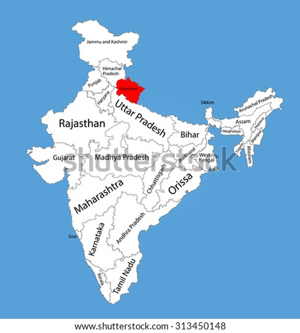 Uttarakhand state, India, vector map silhouette illustration isolated on India map. Editable blank vector map of India.