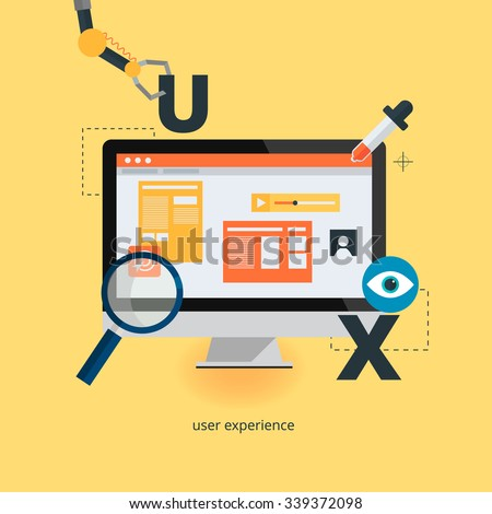 UX design web infographic concept vector. User interface experience, usability, mockup, wireframe development .Optimizing user experience in e-commerce. - stock vector