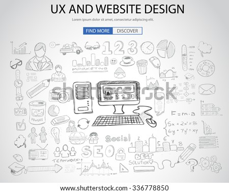 UX Website Design  concept with Doodle design style: online solution, social media campain, creative ideas,Modern style illustration for web banners, brochure and flyers. - stock vector