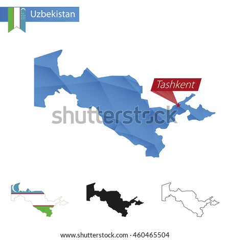 Uzbekistan blue Low Poly map with capital Tashkent, four versions of map. Vector Illustration.
