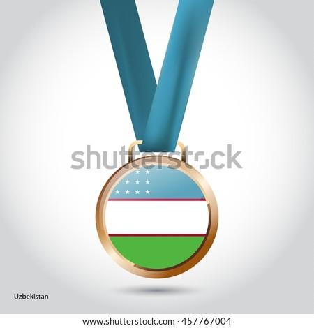 Uzbekistan Flag in Bronze Medal. Vector Illustration - stock vector