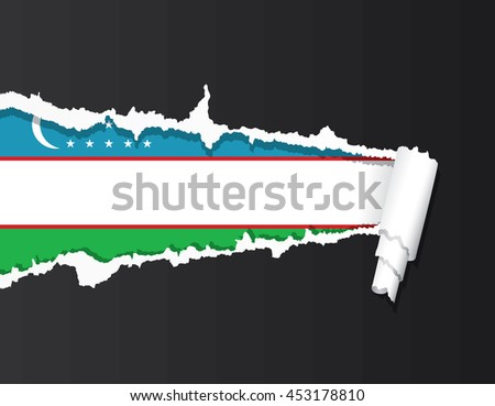 Uzbekistan flag under ripped paper vector illustration. - stock vector