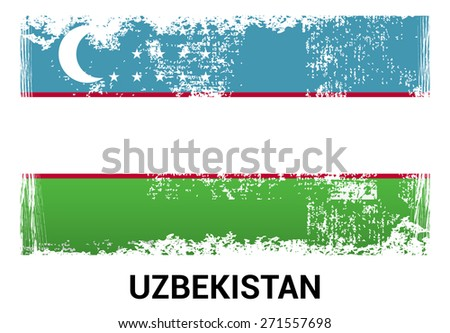 Uzbekistan grunge flag isolated vector in official colors and Proportion Correctly. country's name label in bottom. Vector Illustration