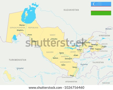 Uzbekistan Map Flag High Detailed Vector Stock Vector 1026756460