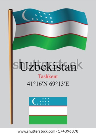 uzbekistan wavy flag and coordinates against gray background, vector art illustration, image contains transparency - stock vector