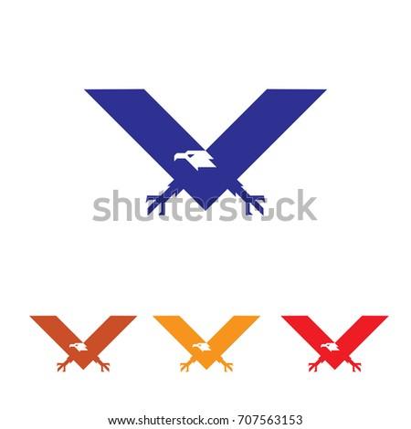 V Eagle Hawk Bird Logo Symbol Stock Vector Royalty Free 707563153