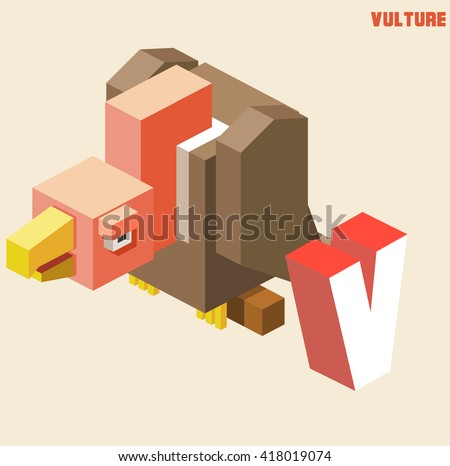 V for vulture. Animal Alphabet collection. vector illustration - stock vector