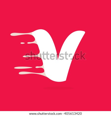 V letter logo made of milk. Vector design template elements for your poster or corporate identity. - stock vector