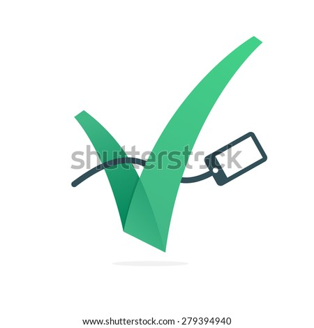 V letter or check mark, charging phone icon, design template elements  - stock vector