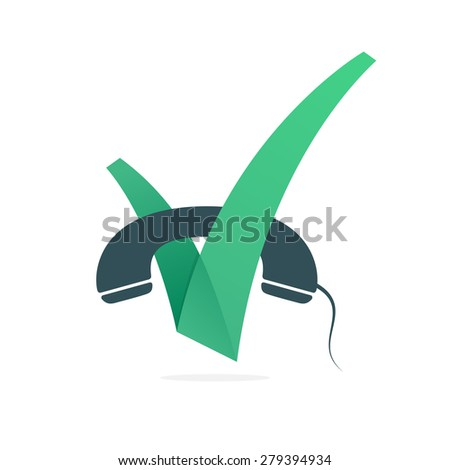V letter or check mark, handset icon, design template elements - stock vector