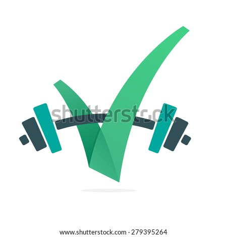 V letter or check mark, power bar, design template elements - stock vector